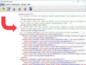 Anordnung und Gruppierung der Symbole und Bezeichnungen der Multifunktionsleiste durch Konfigurationsparameter im XML-Format anpassen.