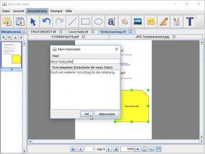 Digitale Notizzettel auf Dokumenten anbringen oder bearbeiten.