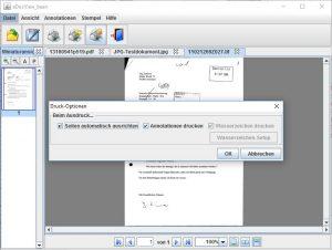 Für das Drucken von Dokumenten stehen Optionen wie das automatische Ausrichten der Seiten oder Wasserzeichen zur Verfügung.