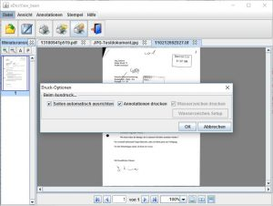 For printing documents options like automatic page orientation or watermarks are available.