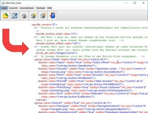 Layout and group the symbols and names of the multi-function tool bar using configuration parameters in XML format.